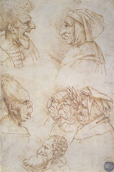 Leonard seven studies of grotesque faces